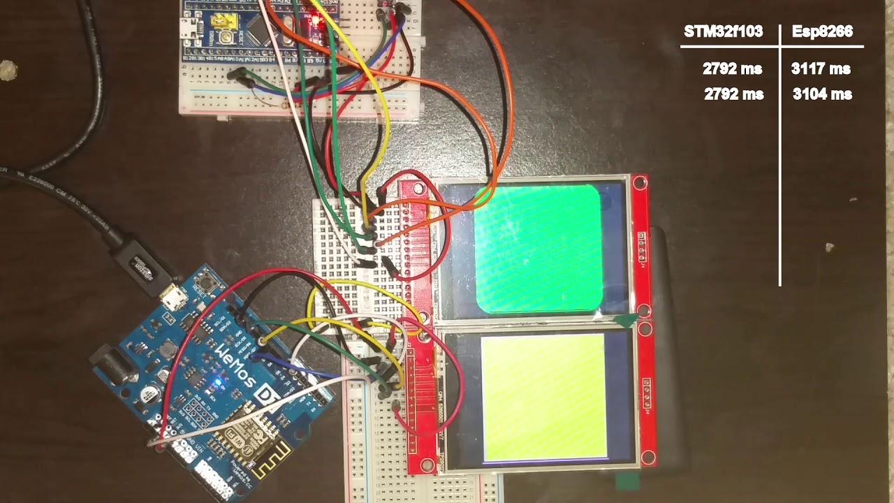 ESP8266 Vs STM32 (TFT Library Performance Test)