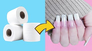 HOW TO MAKE FAKE NAILS FROM TOILET PAPER / Like Natural Nails and Waterproof /No UV Lamb /No Acrilic