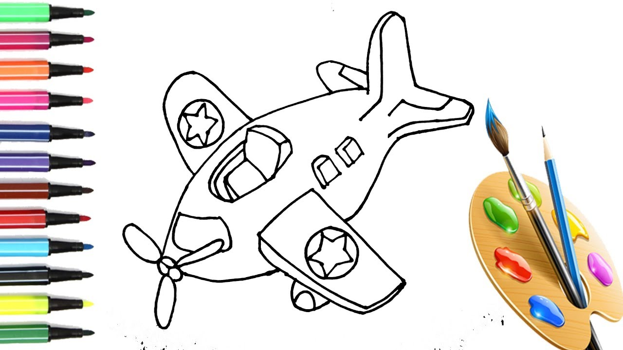 How to Draw & Color an Airplane Cartoon Easy Step by Step ...