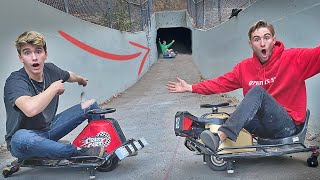 Racing GO KARTS Through Down Hill TUNNELS