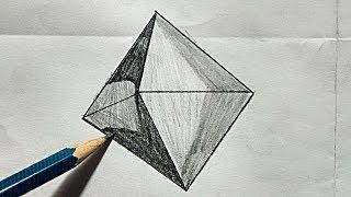 Octahedron  draw Octahedron  how to draw Maths Octahedron easy