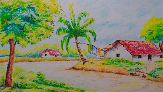 scenery village drawing draw sceneries easy colour sketches drawn indian drawingartpedia sketch oil tutorial pencil landscape pastel mountain