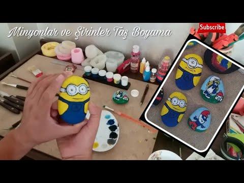 Minyonlar Taş Boyama Minions Stone Painting şirinler Smurf