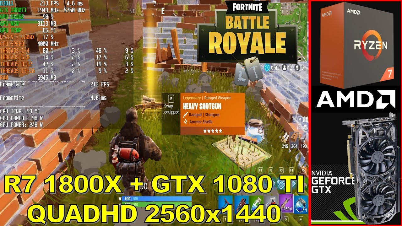 Fortnite Battle Royale 2560x1440 Gtx 1080 Ti Ryzen 7 1800x At 40ghz