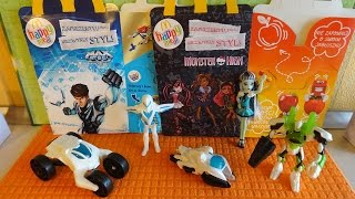 2015 Max Steel Full Set + Monster High Best Toy Dolls McDonalds Happy Meal Toys Unboxing