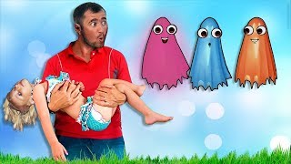 Alina playing Hide and Seek with funny color ghosts. Prretend play Baby Song Nursery Rhymes Ghosts