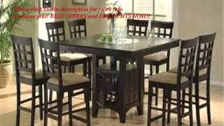 [best #1] 9pc Counter Height Storage Dining Table W/lazy Susan And Chair Set | Dining Room Furniture
