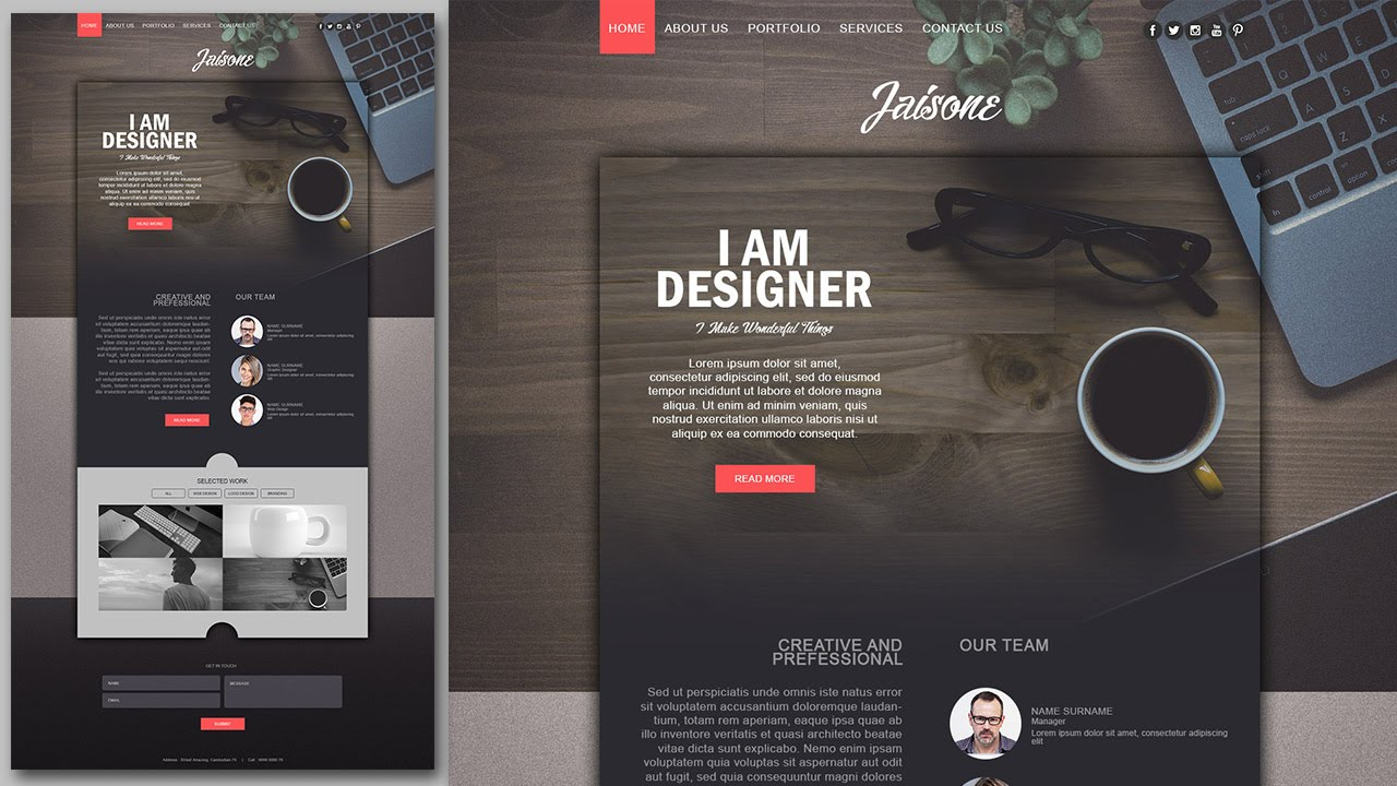 photoshop website design tutorial stylish portfolio with grain