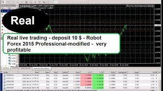 Real live trading - deposit 10 $ - Robot Forex 2015 Professional-modified -  very profitable