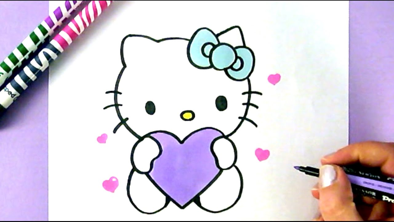 how to draw hello kitty with love hearts easy drawing tutorial youtube