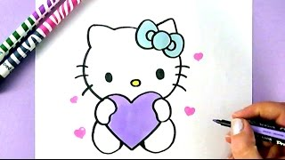 HOW TO DRAW HELLO KITTY WITH LOVE HEARTS | EASY DRAWING TUTORIAL thumbnail