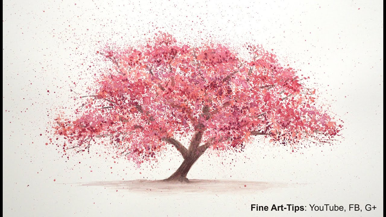 How to paint a cherry tree in watercolor splatter for Cherry blossom mural works