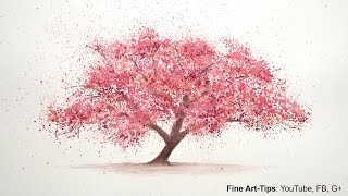 How to Paint a Cherry Tree in Watercolor -  Splatter Painting Trees - Paint a Tree - Sakura(Visit me on FB: https://www.facebook.com/LeonardoPereznieto Follow Fine Art Tips on Google+: http://goo.gl/TqsmiJ My website: http://www.ArtistLeonardo.com/ ..., 2014-12-09T16:00:01.000Z)