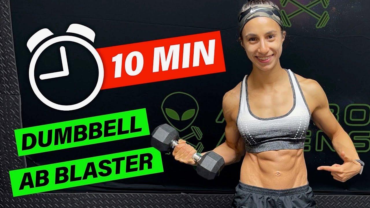 Intense 10 Minute Dumbbell Core Workout   Abs & Obliques!