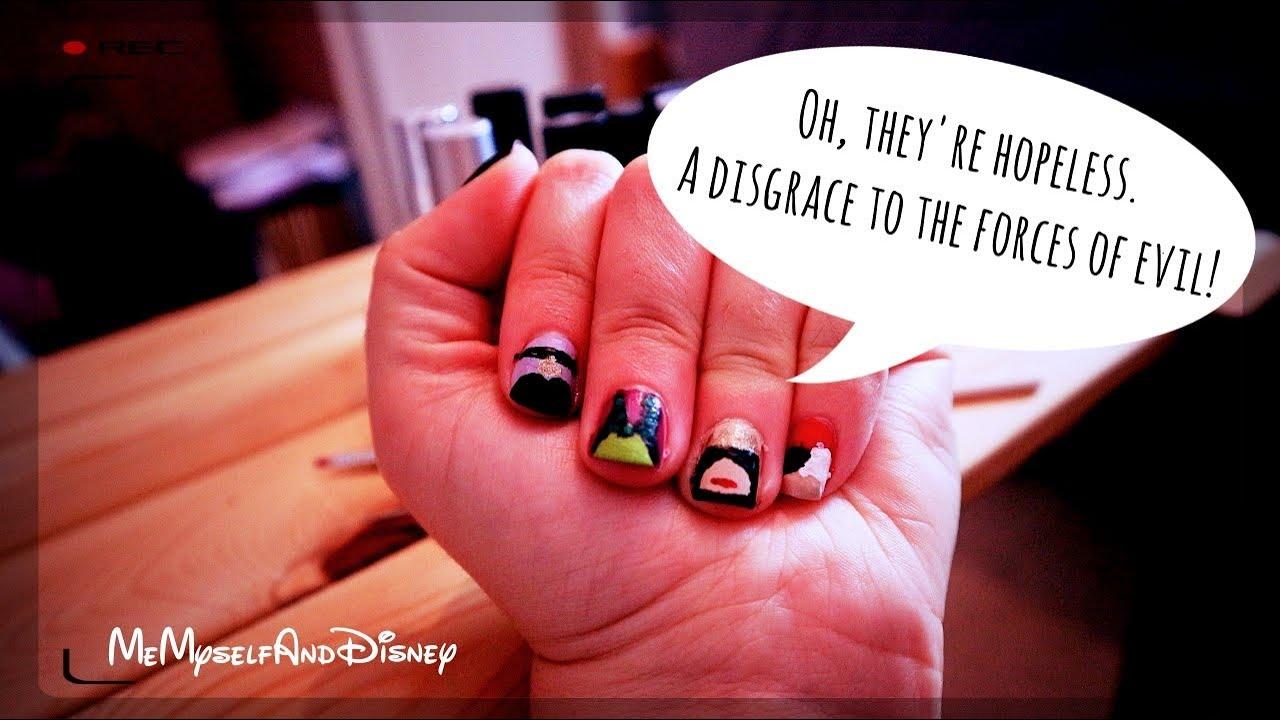 Disney Villain Halloween Nail Art Memyselfanddisney Youtube