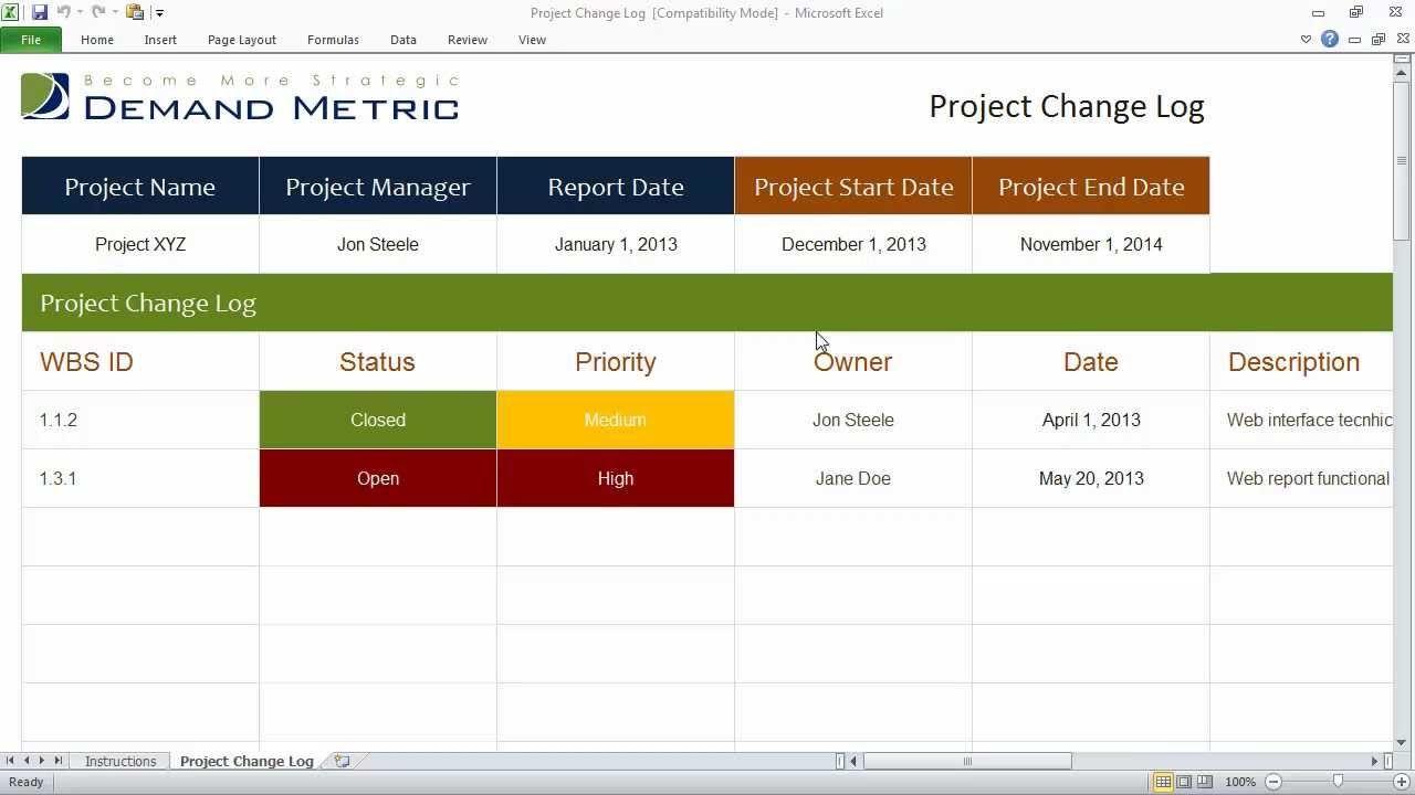 Project change request log youtube for Change log template project management