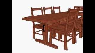 Nakashima Trestle Table And Chairs
