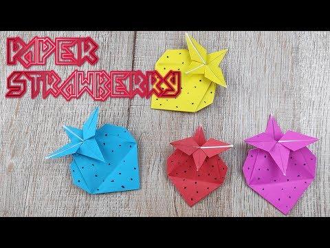 Origami Strawberry Tutorial | Easy Strawberry Paper Craft Fruit | Diy Folds No Glue Paper Gift Box