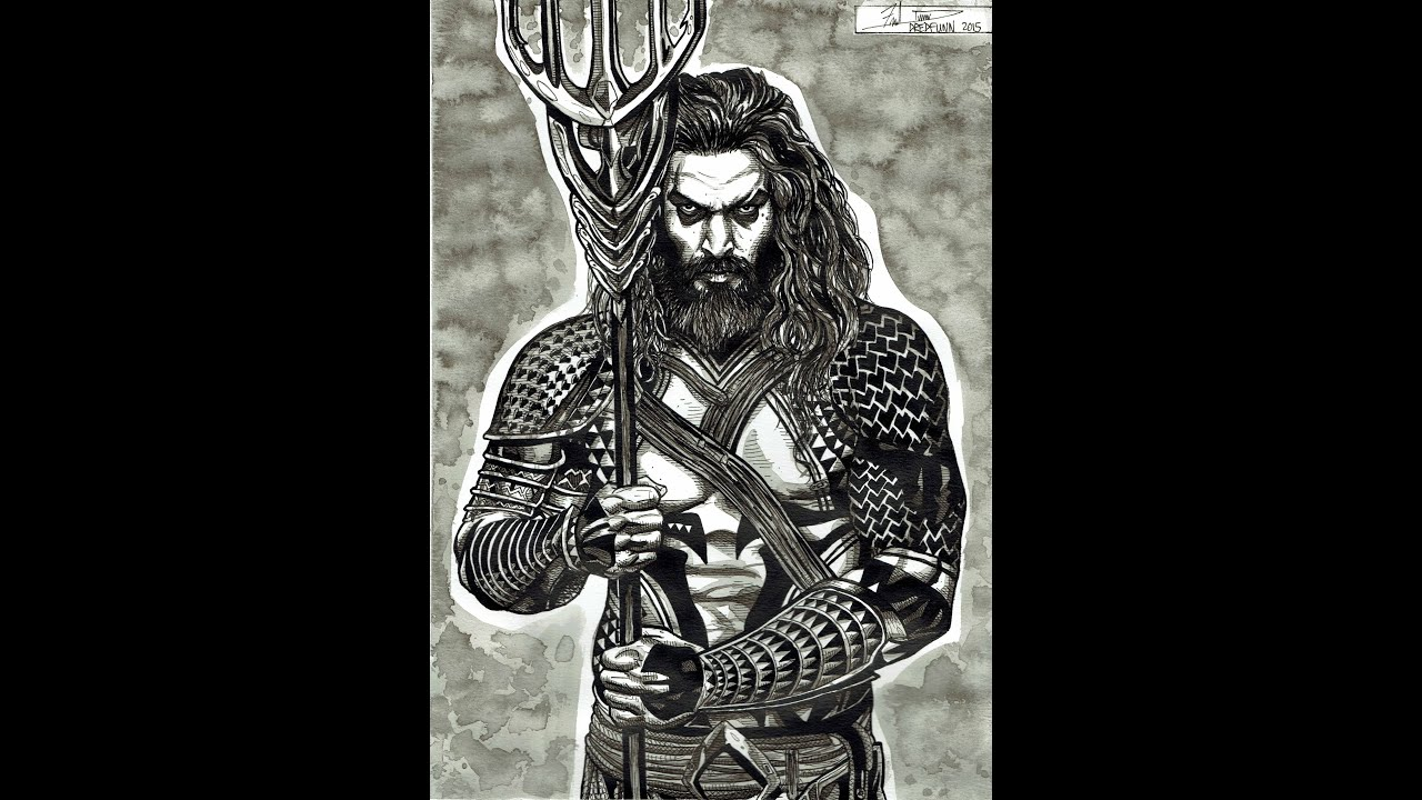 Jason Momoa Aquaman A Dredfunn India Ink Painting - YouTube