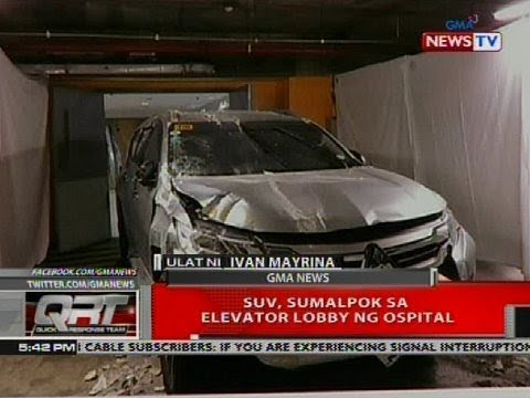 SUV, sumalpok sa elevator lobby ng ospital