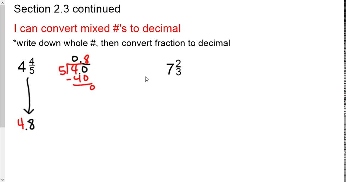 4b - convert mixed numbers to decimals