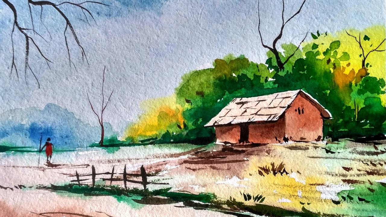 Landscape painting in watercolor speed painting youtube for Drawing and painting ideas