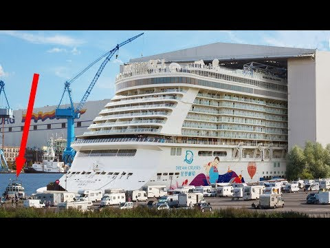 Big ship launch: Float out of cruise ship World Dream 世界夢號  at Meyer Werft shipyard