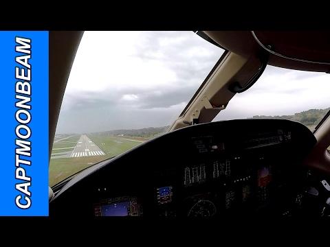 BEHIND THE STORM, Live ATC, Cessna Citation XLS Landing Spirit of St Louis Airport