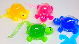 unboxing turtles slime surprise toys learn colors