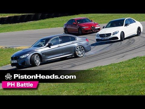 Alfa Romeo Giulia Quadrifoglio vs BMW M3 Comp Pack vs Mercedes-AMG C63 S   PH Battle