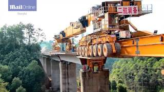 over bridge construction Chinese technology  very fast