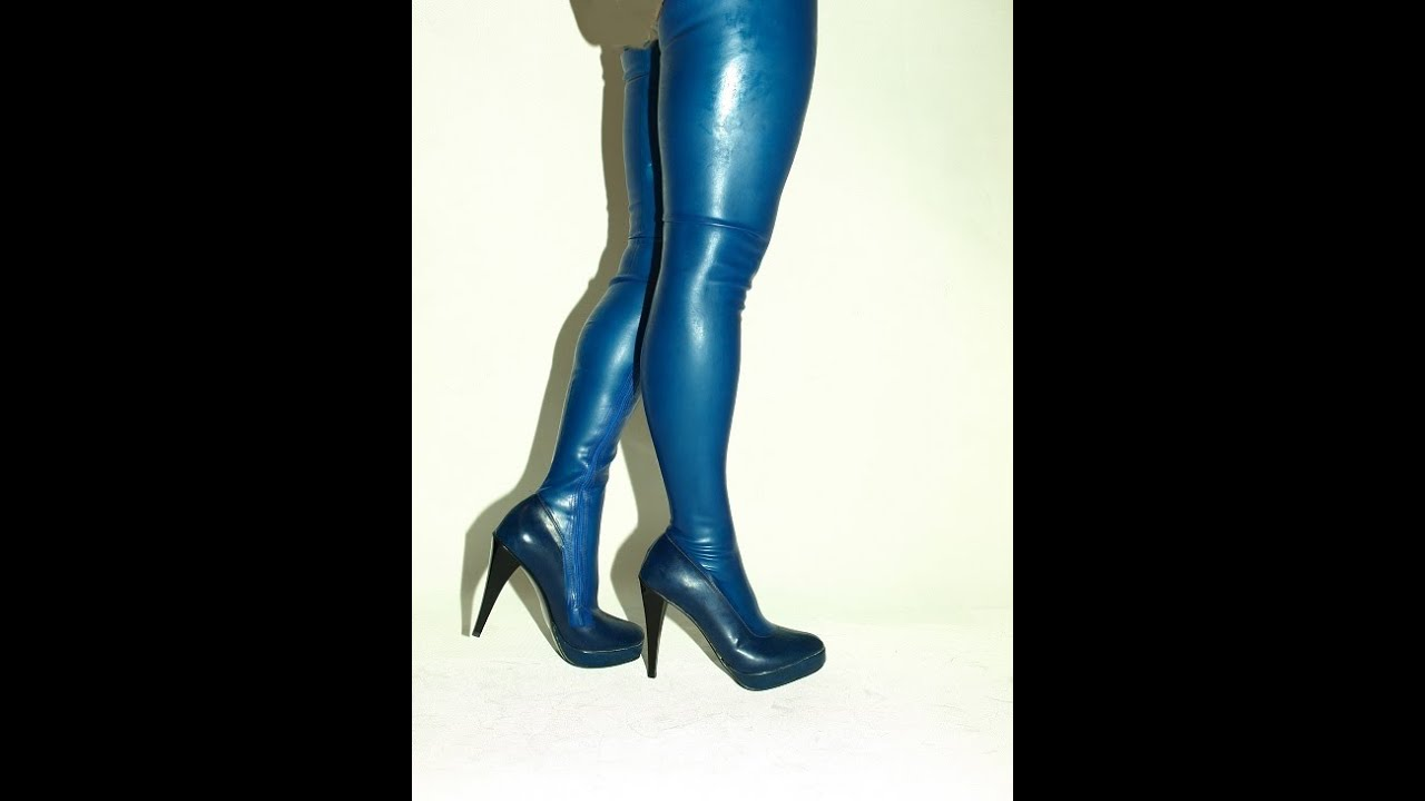 Latex Rubber Highs Boots Size 6 16 Heels 5 5 Producer Poland New Blue Youtube