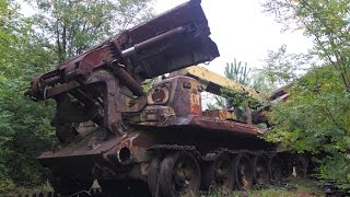 Chernobyl Exclusion Zone. Combat engineering  vehicles IMR - 2 (ИМР-2) before dismantling