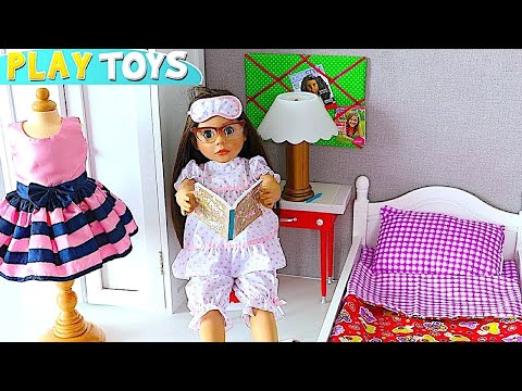 Baby Doll Evening & Morning Routine - Play AG Doll Bedroom in Dollhouse, doll bed, closet dress up