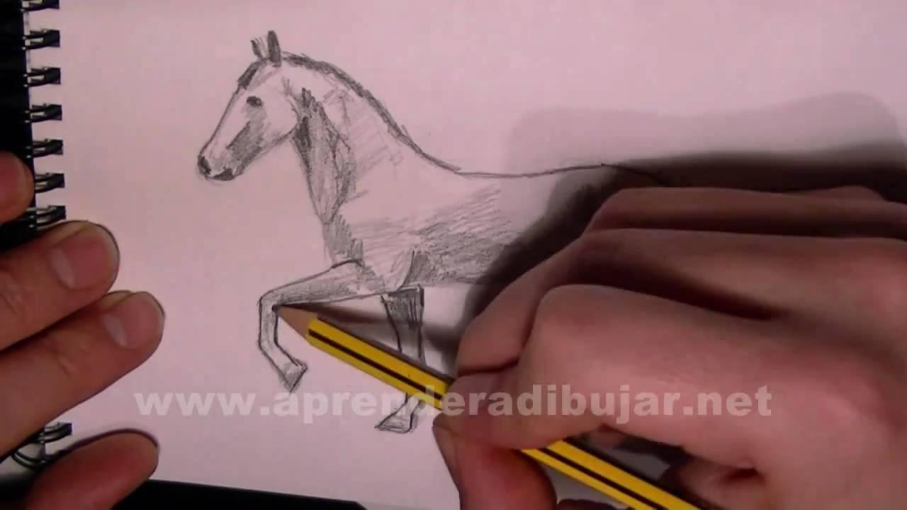 Dibujo de un caballo trotando paso a paso - Como dibujar animales a ...