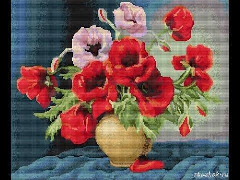 Вышивки маков в вазе крестиком