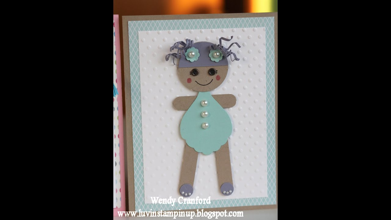 Lalaloopsy Doll Stampin Up Punch Art Baby Shower Card - YouTube
