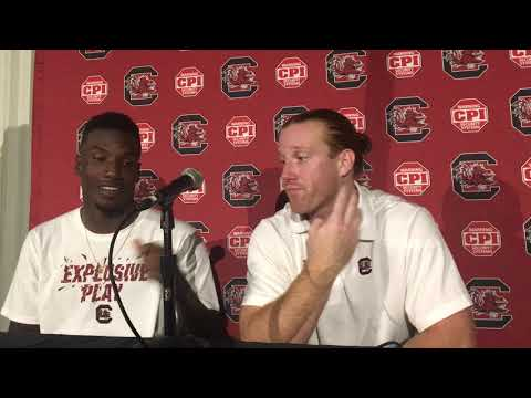 Bryan Edwards and Hayden Hurst postgame vs. Missouri