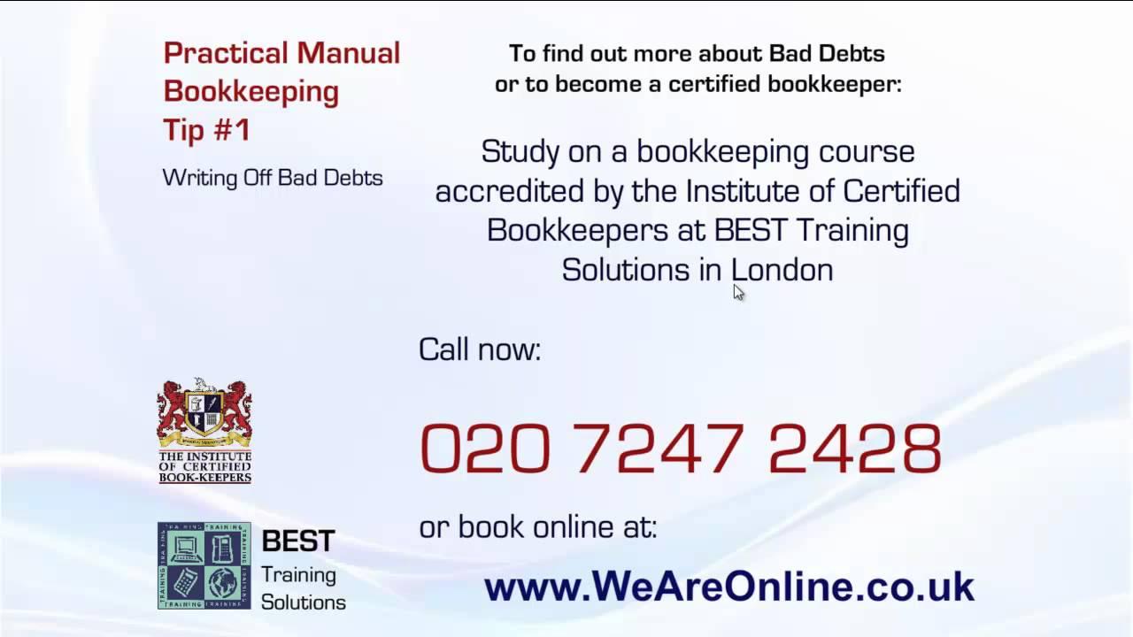 Manual bookkeeping tutorial tip writing off bad debts youtube manual bookkeeping tutorial tip writing off bad debts baditri Gallery