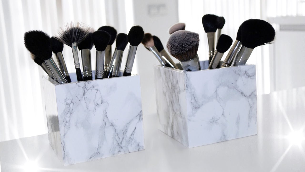 Diy Marble Makeup Brush Holder Easy