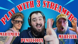 Playing Customs with 3 Streamers! ME, Mvreezik, Martimert FORTNITE LIVE STREAM