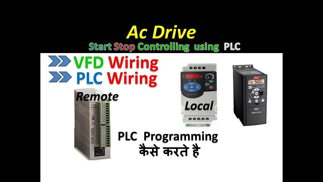 hight resolution of vfd drive start stop using plc in hindi