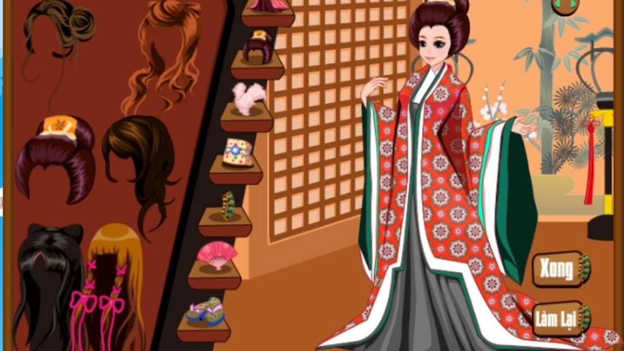 [ Review ] chơi game trang điểm : trang phục  Kimono nhật bản , chọn Kimono thật vui