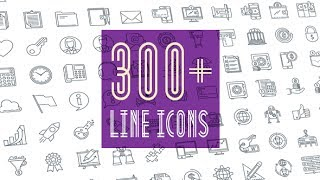 Line Icons Pack 300 Animated Line Icons | After Effects template