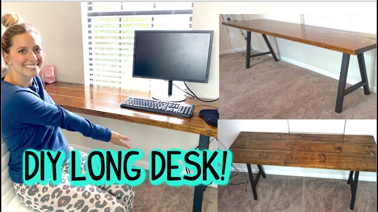 Diy Easy Long Rustic Computer Desk Tutorial For 100 Or Less Youtube