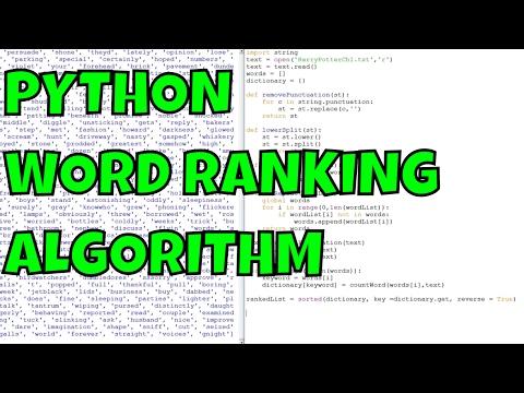 Python Word Ranking Algorithm