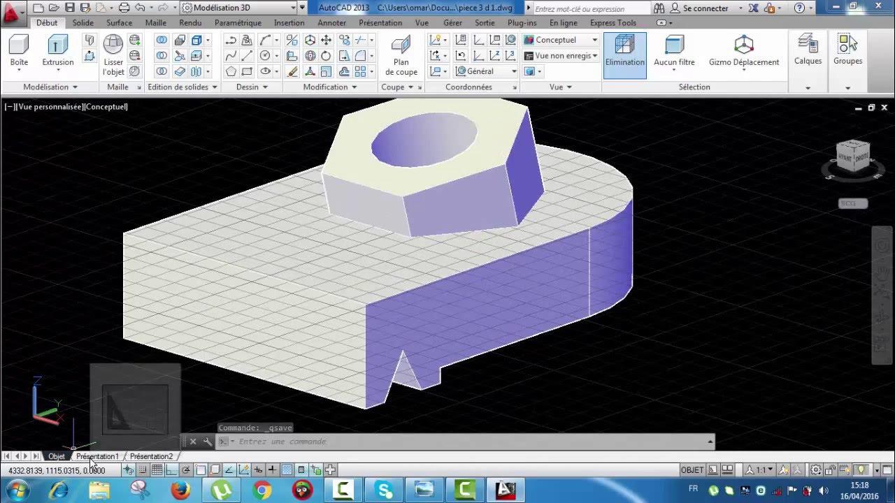 le on 8 autocad comment r aliser une pi ce 3d avec mise en plan partir espace d 39 objet oriyane. Black Bedroom Furniture Sets. Home Design Ideas