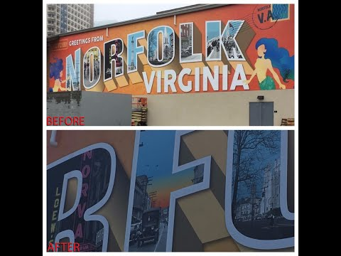 Crews paint over letter in 'Norfolk' mural at Waterside District