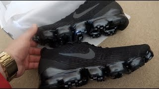00b252987 NIKE AIR VAPORMAX FLYNIT 3  TRIPLE BLACK  UNBOXING REVIEW