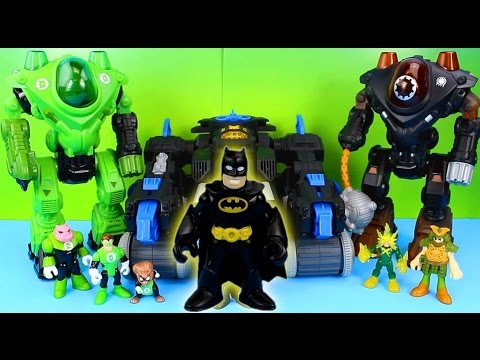 Imaginext Batman Batbot saves Green Lantern from Electro Gotham City Police take Bad Guys to jail